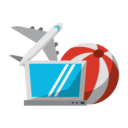 Travel airplane laptop and beach ball vector illustration graphic design