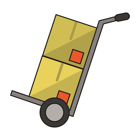 Handtruck with boxes symbol isolated vector illustration graphic design