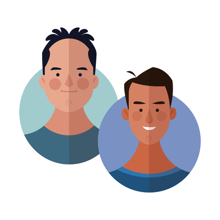 Young friends cartoons round icons vector illustration graphic design Illustration