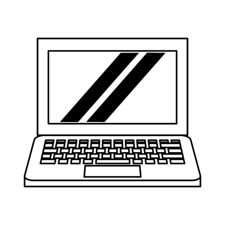 computer icon cartoon isolated vector illustration graphic design black and white Vectores