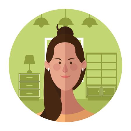 Woman face cartoon profile inside home round icon vector illustration graphic design