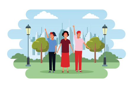 people avatars cartoon characters hand up open arms wearing hat headband in the city park scenery