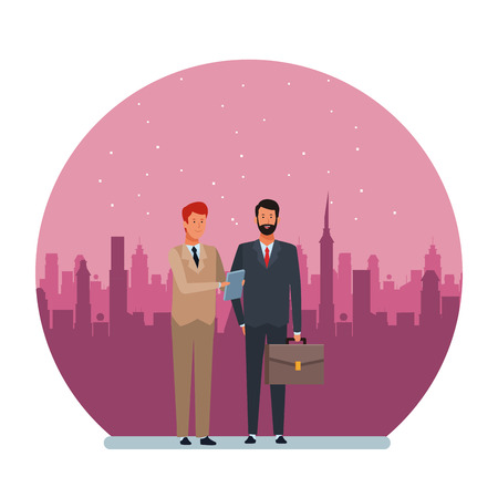businessmen avatar cartoon character with briefcase and documents folder with cityscape at night round icon vector illustration graphic design