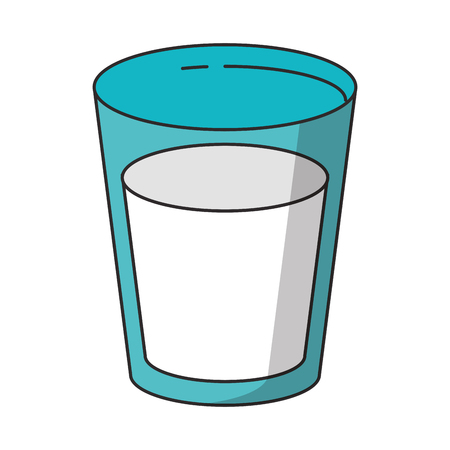 Milk glass cup cartoon isolated vector illustration graphic design