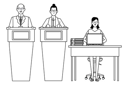 people in podium and desk with computer and documents black and white vector illustration graphic design