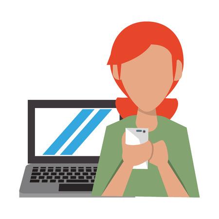 woman with laptop icon cartoon vector illustration graphic design 일러스트
