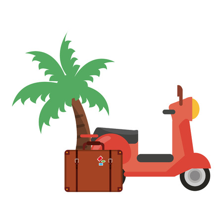 Vacations and travel scooter with suitcase and palm vector illustration graphic design