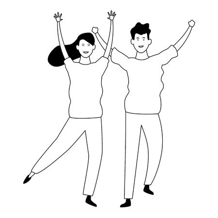 Happy couple having fun and dancing vector illustration graphic design Ilustración de vector