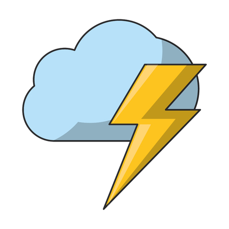 air cloud with thunder cartoon vector illustration graphic design
