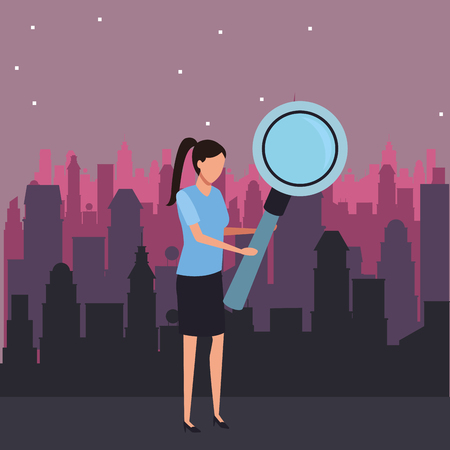 Businesswoman with magnifying glass over cityscape at night scenery vector illustration graphic design