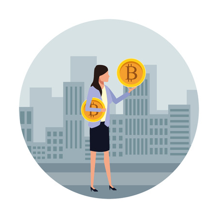 Businesswoman with bitcoin avatar over cityscape scenery frame round icon vector illustration graphic design