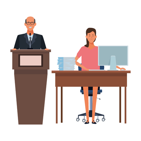 couple in a podium and office desk wearing glasses vector illustration graphic design
