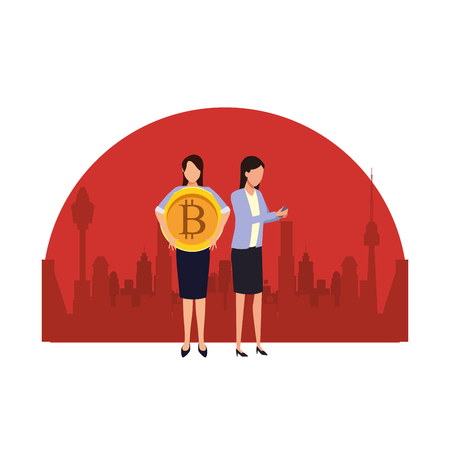 Business people with bitcoins avatars over cityscape scenery frame vector illustration graphic design Vectores