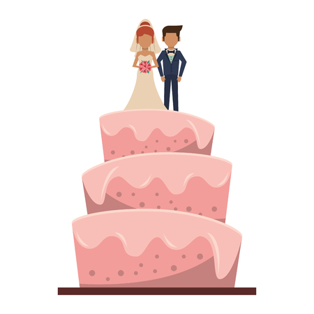 Wedding cake cartoon isolated vector illustration graphic design