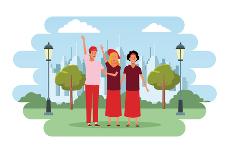 people avatars cartoon characters hand up open arms wearing hat and headband  in the city park scenery Illustration