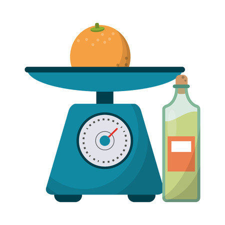 Healthy lifestyle and weight loss orange on balance and olive oil vector illustration graphic design