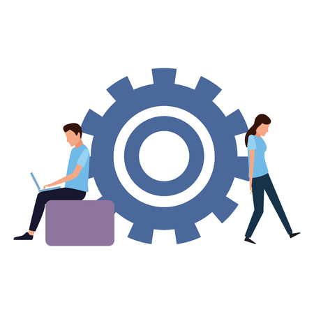 Coworkers man with laptop and woman stopping gear teamwork cartoon vector illustration graphic design Ilustração