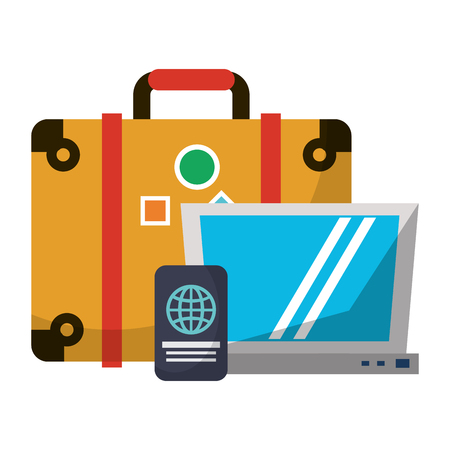 Travel suitcase and laptop with passport vector illustration graphic design