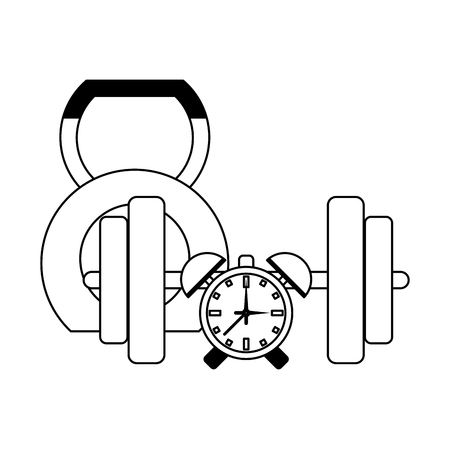 Fitness and gym equipment kettlebell and alarm clock with weights vector illustration graphic design