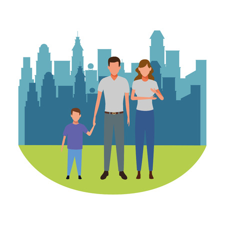 family avatar cartoon character couple with child cityscape skyscraper vector illustration graphic design