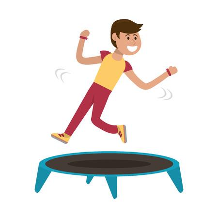 Athlete man jumping in trampoline vector illustration graphic design Ilustração