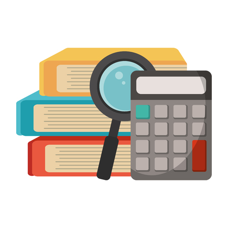 School utensils and supplies books and calculator with magnifying glass