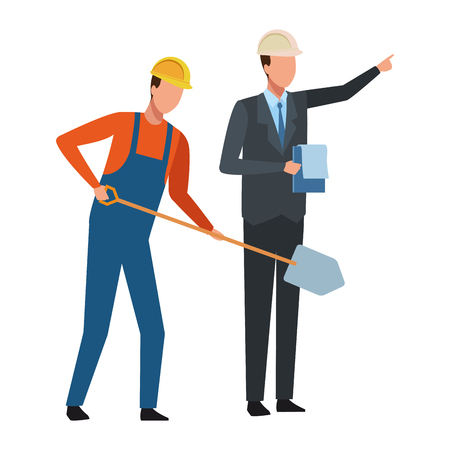 Construction teamwork avatar worker with shovel and engineer with checklist vector illustration graphic design