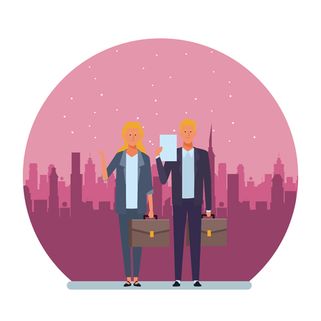 business couple avatar cartoon character with briefcase and documents folder with cityscape at night round icon vector illustration graphic design