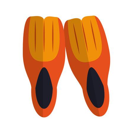 Diving fins equipment cartoon vector illustration graphic design