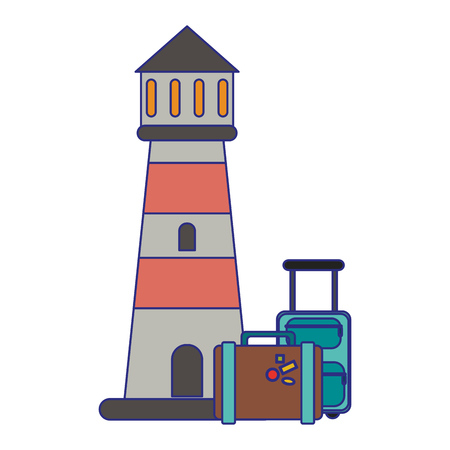 Travel and summer lighthouse and luggage vector illustration graphic design