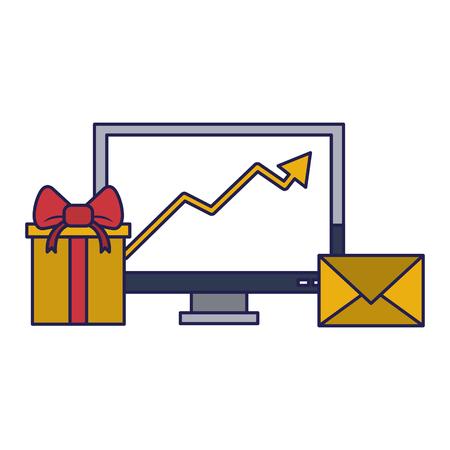 Livraison de cadeaux d'affaires tendance données logistique communication correspondance graphique illustration vectorielle desing graphique