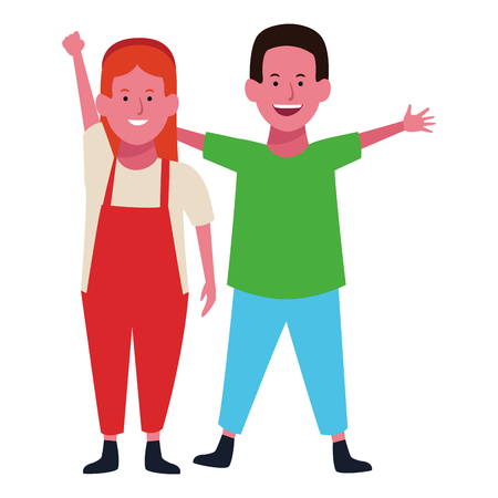 Two kids boy and girl smiling cartoons vector illustration graphic design Banque d'images - 122409788