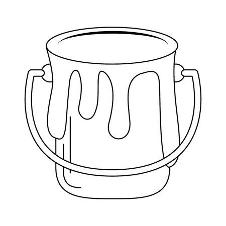 Farbeimer mit Spritzen-Vektor-Illustration-Grafik-Design Vektorgrafik
