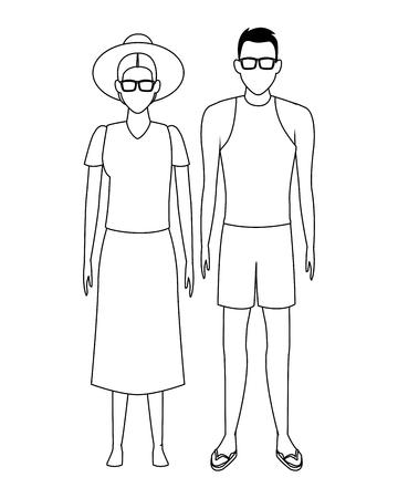 vecchia donna e giovane avatar indossando abiti estivi in bianco e nero illustrazione vettoriale graphic design