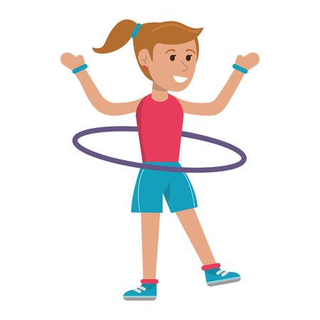 Femme avec hula hoop cartoon vector illustration graphic design