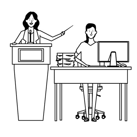 women in a podium and office desk with wand black and white vector illustration graphic design