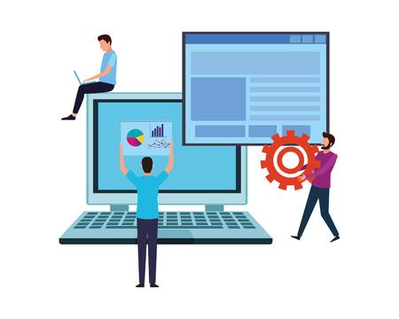 Coworkers using laptop for website teamwork cartoon vector illustration graphic design Illustration