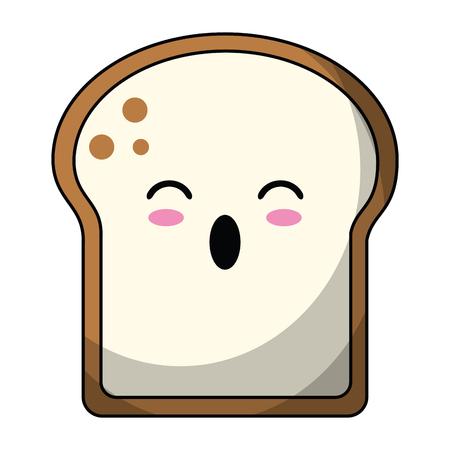 bread sliced suprised cute kawaii cartoon vector illustration graphic design Stock Illustratie