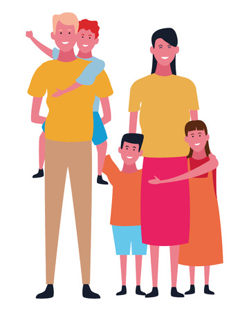 Family father and mother with kids vector illustration graphic design