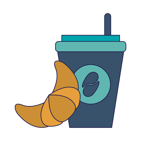 Coffee to go cup and croissant vector illustration graphic design