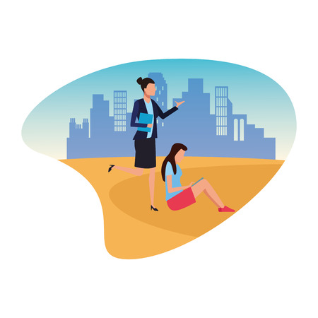 Coworkers women with portafolio and using tablet teamwork cartoon over cityscape scenery vector illustration graphic design