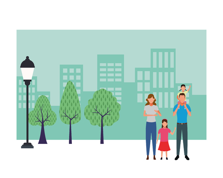 family avatar cartoon character children in the park cityscape vector illustration graphic design