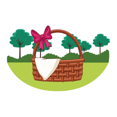 Wicker basket with ribbon and cloth empty with handle  nature trees background round frame vector illustration graphic design