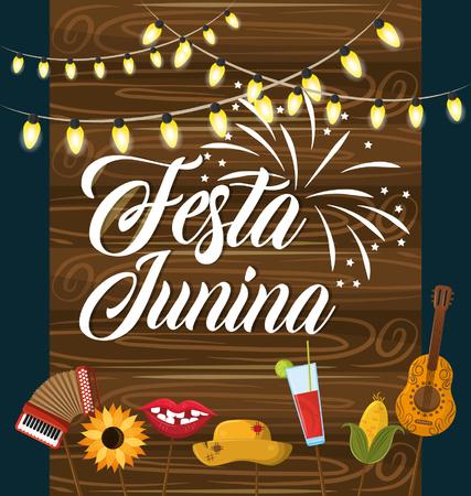 festa junina concept invitation card with culture brazyl typical elements cartoon vector illustration graphic design