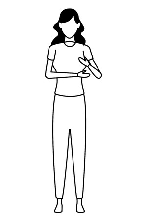 woman avatar cartoon character black and white vector illustration graphic design Foto de archivo - 122259904