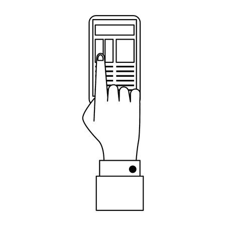Businessman hand touching smartphone symbol vector illustration graphic design