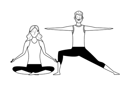 couple yoga poses avatars cartoon character with beard black and white isolated vector illustration graphic design