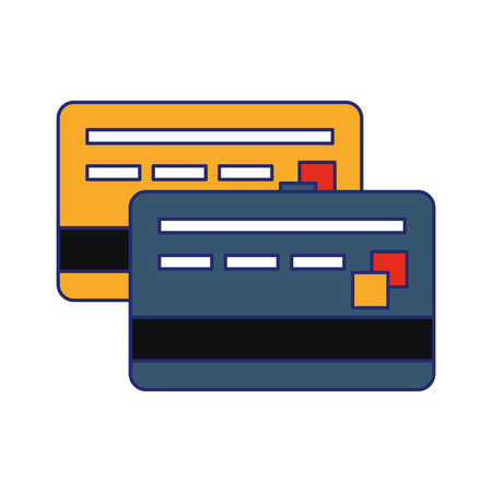 Credit card frontview and backview symbol vector illustration graphic design Stock Illustratie