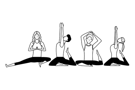 people yoga poses avatars cartoon character ponytail black and white isolated vector illustration graphic design