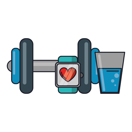 Gym fitness equipment dumbbells smartwatch and water glass vector illustration graphic design
